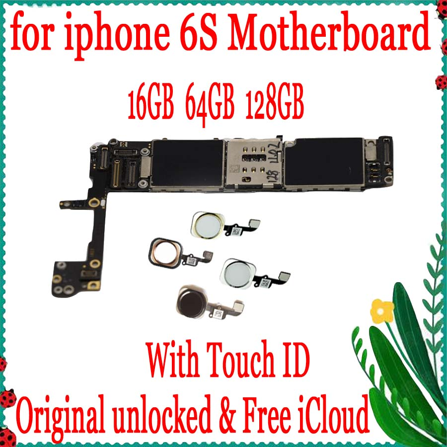 Good Tested, Original Unlocked motherboard for iphone 6S 4.7 inch With/No Touch ID, free iCloud logic board ,16GB 64GB 128GB image