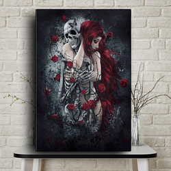 Abstract Skull Girl Dark Rose Flowers Canvas Painting Art Posters and Prints Wall Art Pictures Cuadros for Living Room no frame