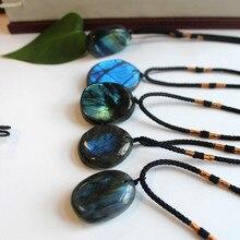 Natural Labradorite Moonstone Irregular Pendant Wrap Braid Necklace Yoga Macrame Choker for Fashion Accessories