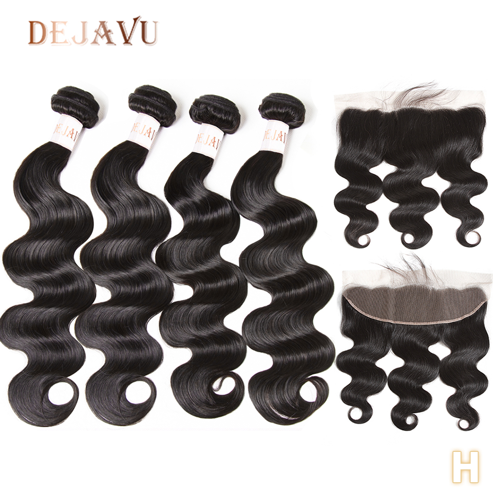 Body Wave Bundles With Frontal Brazilian Hair Weave Bundles With Closure Non-Remy Human Hair Extension 28 Bundles With A Frontal