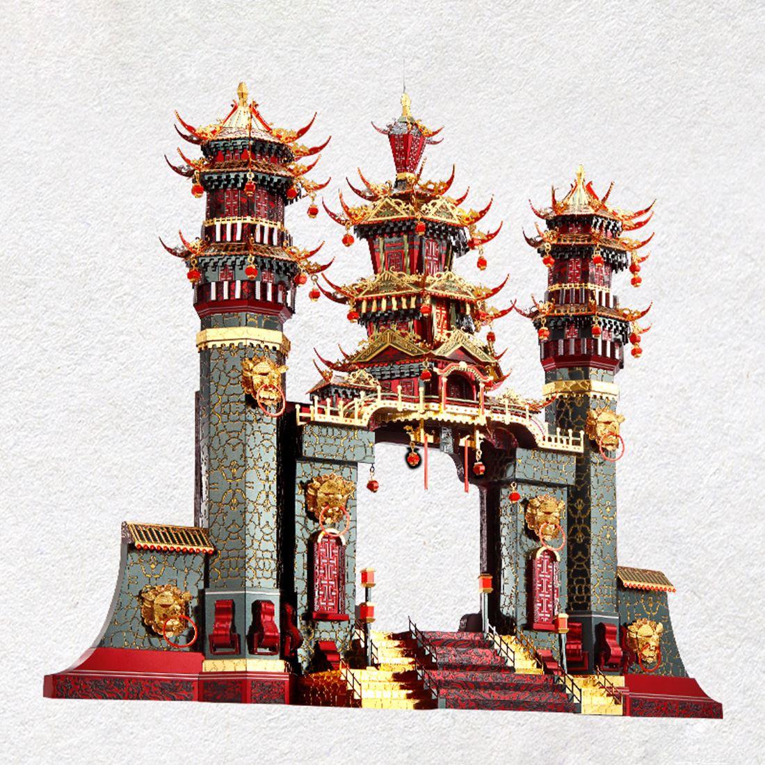 Архитектурная серия Южные ворота , модель, наборы, сделай сам, 3D металлические пазлы, сборная головоломка, игрушка, модель, обучающая игрушка, подарок для детей и взрослых - 4