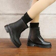Las mujeres de moda Botas de lluvia impermeable zapatos de mujer zapatos de barro zapatos de agua zapatos de goma de encaje arriba PVC botas a la pantorrilla de Botas de lluvia de talla grande 44