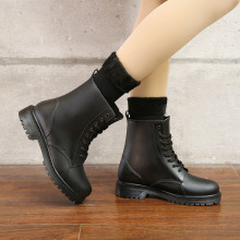 Womens Fashion Rainboots Waterproof Shoes Woman Mud Water Shoes Rubber Lace Up PVC Ankle Boots Sewing Rain Boots plus size 44