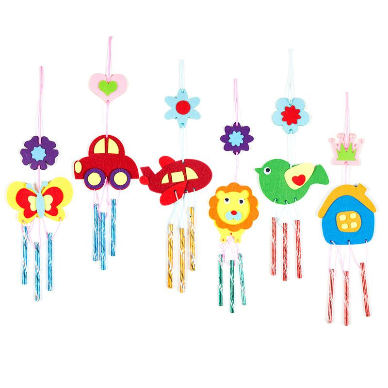 DIY Wind Chime Children Handmade Cartoon Animal Non-woven Paste Making Material Package Boys Girls Gifts
