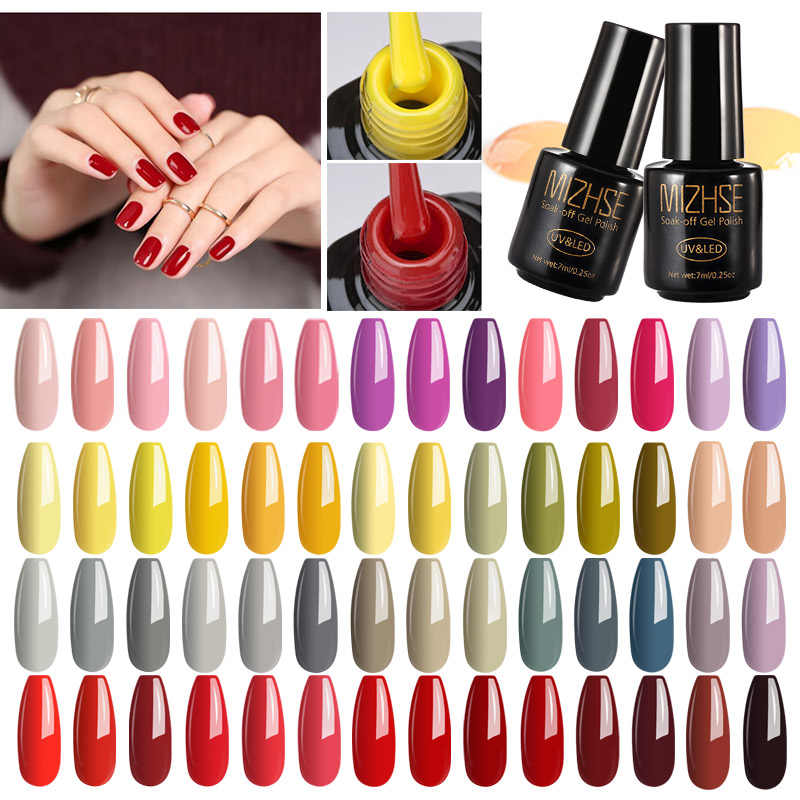 Mizhse Rendam Off Gel Polandia LED 7 Ml Cat Kuku Gel Base Top Coat untuk Kuku DIY Perancis Manikur profesional Uv Gel Kuku