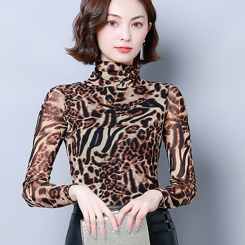 32colors Beautiful Autumn Winter New Fashion Print Elastic Long Sleeved High Collar Women Simple Comfortable Female Bottom Shirt