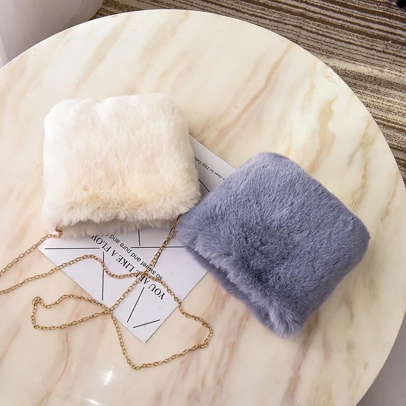 Faux Fur Crossbody Bags For Women Small Purse Handbag Female Girl Plush Phone Flap Shoulder Bag