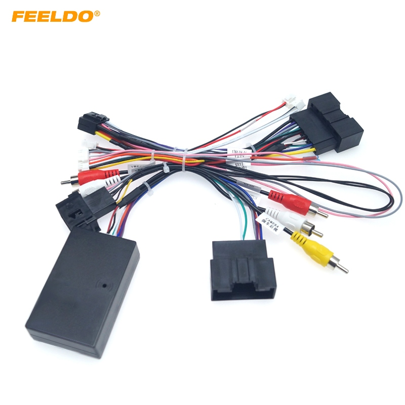 FEELDO Car Audio 16PIN Android Power Cable Adapter With Canbus Box For Ford Focus 12-15 Audio Power Wiring Harness #HQ6377