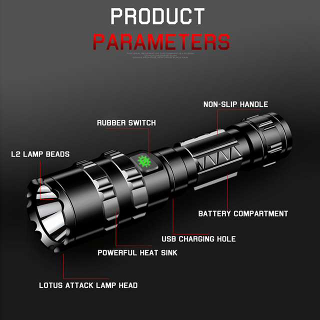 Flashlight Led Remote Switch Aluminum 8000lm Shock Resistant,Hard Light Bulbs L2 Rechargeable Litwod Camping, Hunting