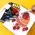 Улучшенный 18/25/33/42 Цвет s твердые акварельные краски в наборе Цвет краски комплект содержит перламутровые флуоресцентный блеск Цвет Рисован...