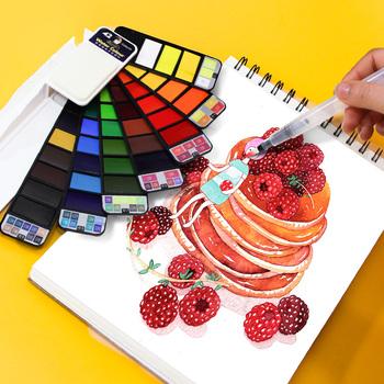 Superior 18 25 33 42 kolorów solidny zestaw akwareli zawiera akcesoria do malowania w kolorze perłowym fluorescencyjnym w brokatowym kolorze tanie i dobre opinie CN (pochodzenie) 3 lata 20 ml Xp-01 Placktic PŁÓTNO Papier