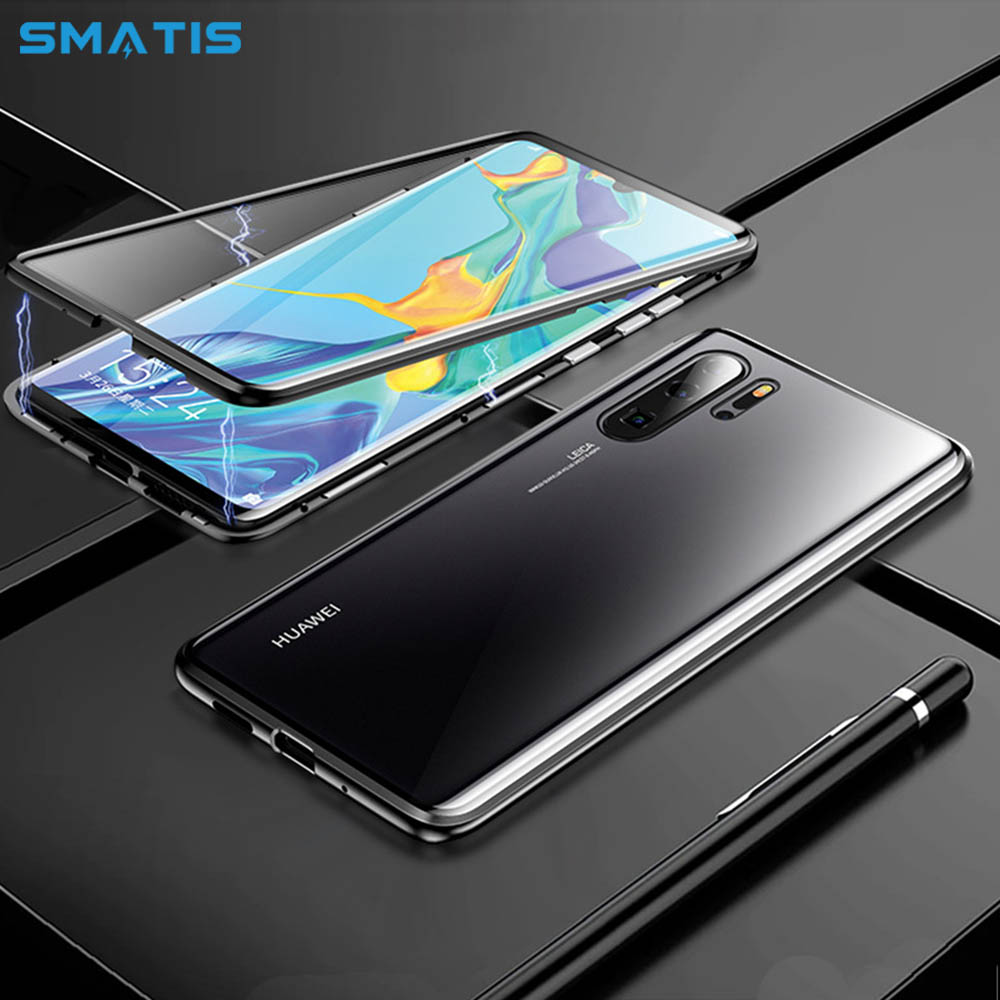 Magnetic Case for Huawei P20 Lite P30 Pro Full Body Protective Luxury 360 Absorption Waterproof Tempered Glass Back Cover Funda