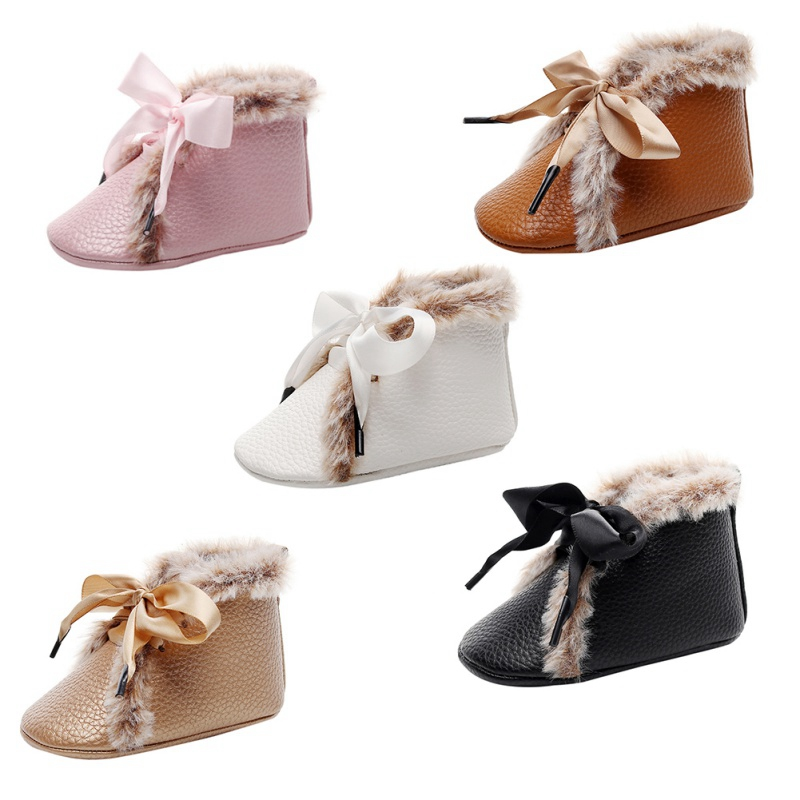 0-24M Infant Toddler Baby Boy Girl Soft Sole Crib Shoes Winter Warm Leather First Walkers Newborn Moccasins Baby Booties