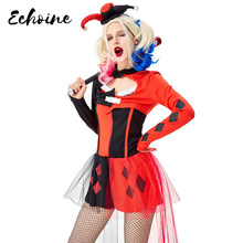 Echoine Adulto Circus Clown Harley Quinn Fancy Dress Up Halloween Cosplay Carnaval Traje Para As Mulheres(China)