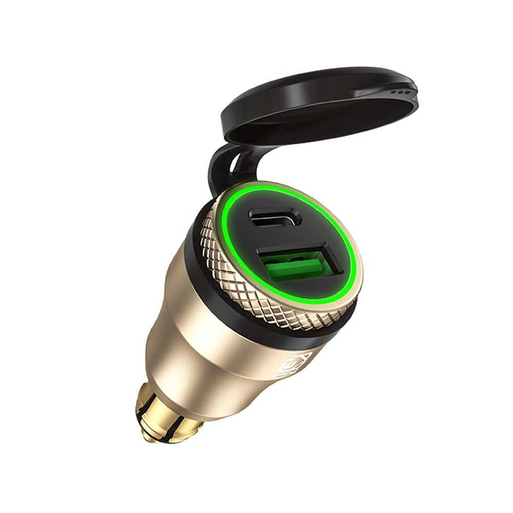 Алюминиевый тип C PD мощность доставки 30 Вт QC 3,0 быстрое зарядное устройство USB зарядное устройство водонепроницаемый для Hella DIN разъем BMW Ducati Triumph