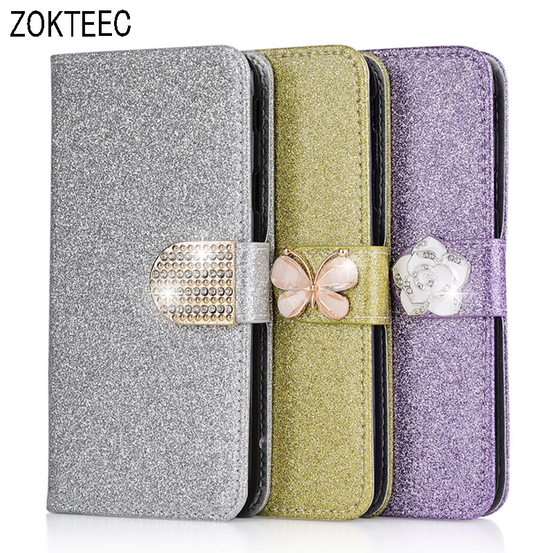 High quality Luxury Fashion Sparkling Case For <font><b>Nokia</b></font> 5 <font><b>6</b></font> (<font><b>2017</b></font>) 7 8 1 Cover Case Leather Flip Book Wallet Design With Card Slot image