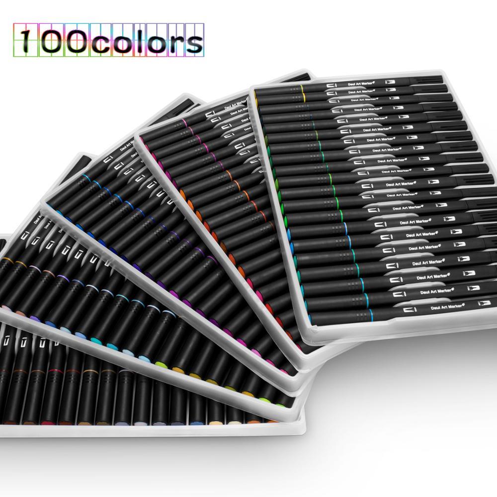 Image 2 - 48/60/72/100 色水彩マーカーためデッサン絵画セットプロの水着色ブラシペンセットデュアルチップ学校アート マーカー   -