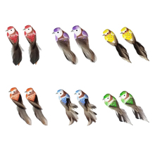 2Pcs Colours Artificial Feathered Foam Birds Garden Home Decoration