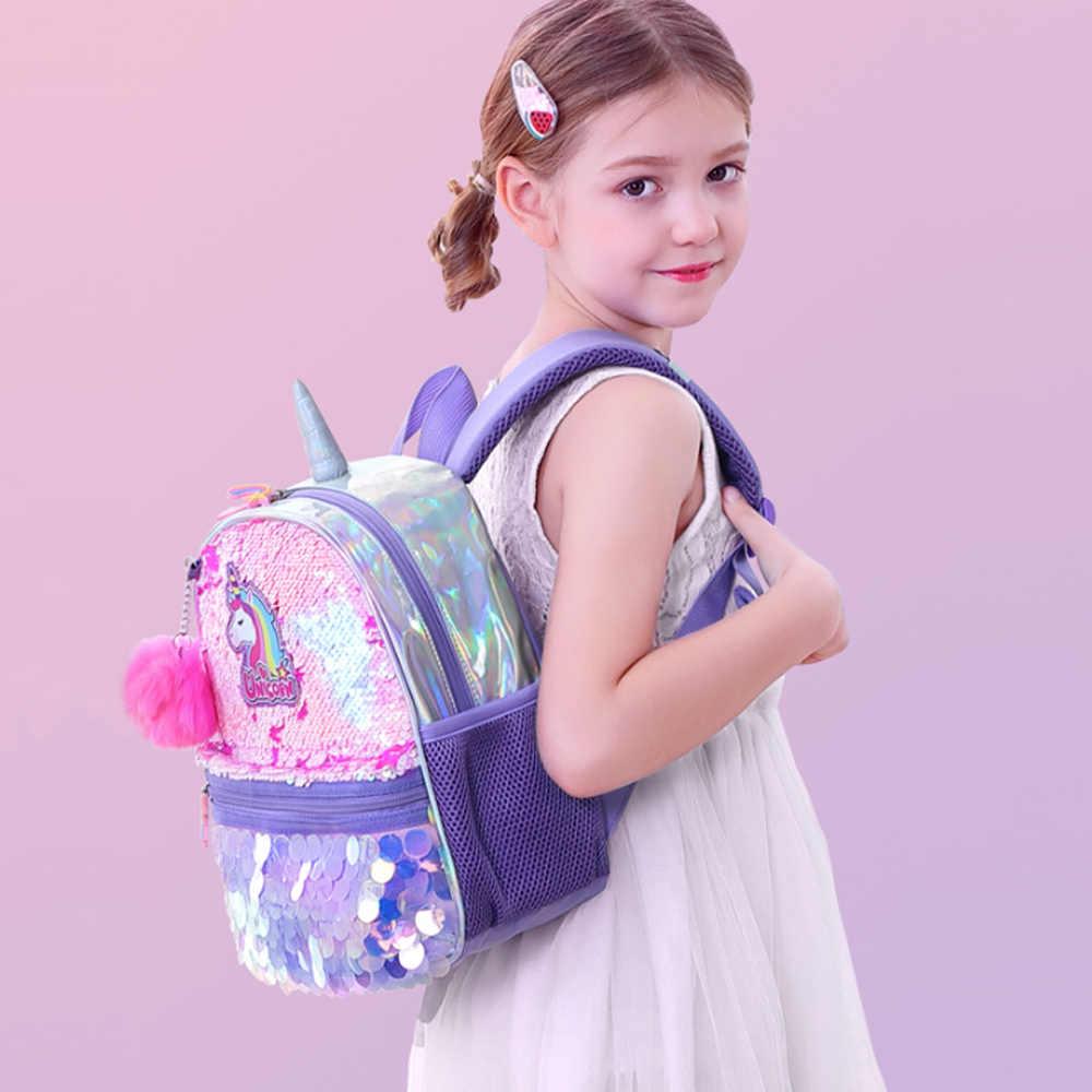 Sunveno Omkeerbare Sequin Bag Rugzak Eenhoorn Meisjes Schooltassen Kleuterschool Schooltas Beste Cadeau Voor Meisjes
