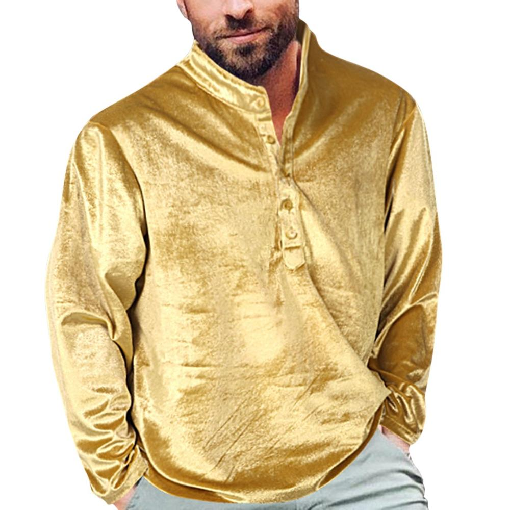 Men's New Style Golden Velvet Long Sleeve Loose Blouse Autumn Fashionable Solid Color Comfortable Pullover Top For Male 2019 New