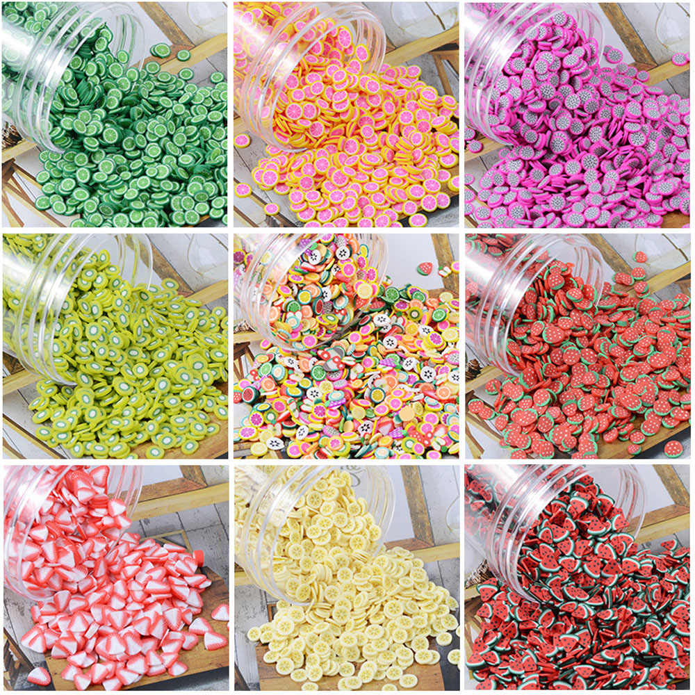 Soft Pottery Addition Soft Fimo Fruit Slices For Slime Fluffy Lizun DIY Nail Mobile Supplies Slime Accessories Kits For Children