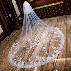 New Arrival Sequins Lace Appliques Two Layers Long Bridal Wedding Veil 4M Bride's Veil With Comb Cathedral With Face Veil Spring