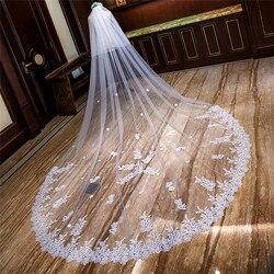 Nueva llegada Apliques de encaje lentejuelas dos capas largo velo de novia 4M velo de novia con peine catedral con velo de cara primavera