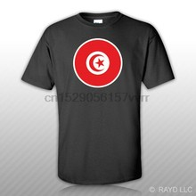 Round Tunisian Flag T-Shirt Tee Shirt Free Sticker Tunisia TUN TN(China)