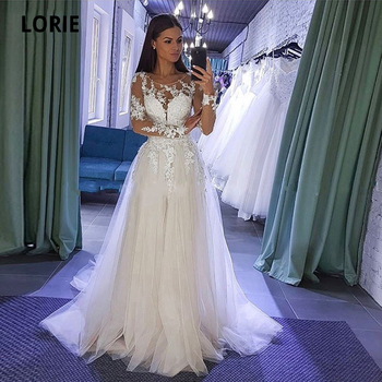 LORIE Long Sleeve Lace Appliques Wedding Dresses Boho Tulle Bride Gown Beach Party Gown Back Button Illusion Abito Da Sposa