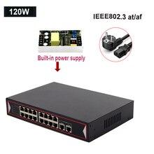 Conmutador Ethernet POE de 48V, 6 puertos de 16 puertos, 10/100Mbps, cámara IP IEEE 802,3 AF/AT, interruptor de red inalámbrico AP Uplink