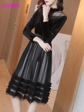 2019 early autumn new round neck nine-point sleeve high waist was thin with mesh gauze stitching black velvet dress