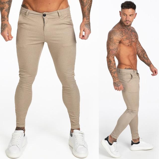 GINGTTO Mens Pants Casual Mens Trousers Skinny Super Stretch Mens Chinos Pants Slim Fit Mens Casual Pant Plaid Elastic Waist 4