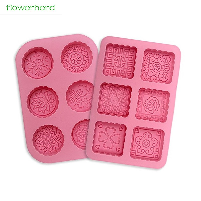 3D Round & Square 6-Cavity Silicone Soap Mold Making Cake Mold Lotion Bars Mold Chocolate Mold Soap Form