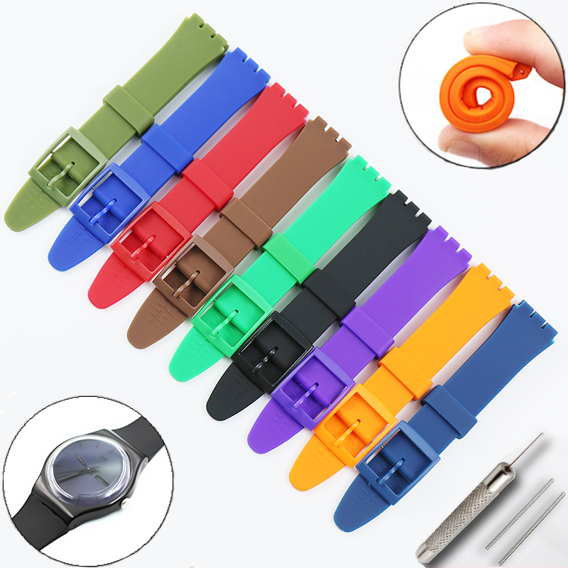 Watch Accessories For Swatch Silicone Strap Buckle 17mm19mm Rubber Strap Men's And Women's Sports Strap