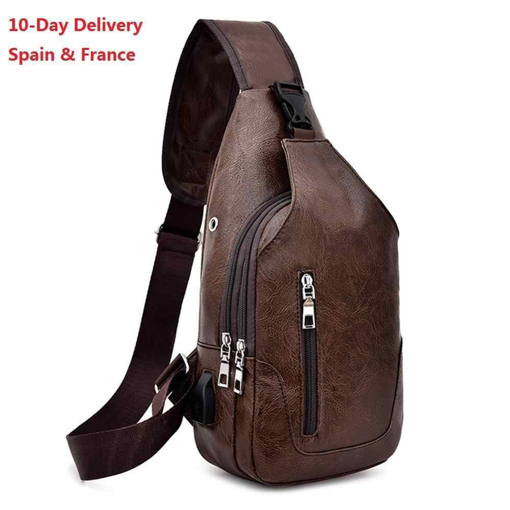 Grensoverschrijdende Voor Custom Pu Schoudertas Men's Opladen Zak Men's Usb Borst Tas Diagonaal Pakket Messenger Bag Borst nieuwe 2020