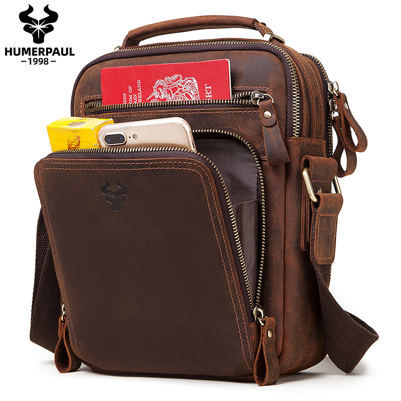 Crazy Horser Genuine Leather Shoulder Bag Men Messenger Bags Handbag Busines Bolsas Travel Sling Crossbody for Male ipad Tote