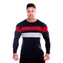 YEMEKE Men patchwork fashion clothing Gyms Tight t-shirt mens fitness Long sleeve homme t shirt men autumn tops
