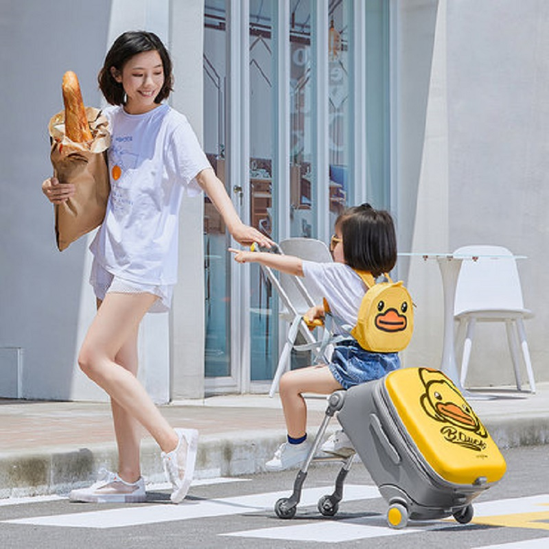 Can Riding Children's Baby Artifact Foldable Trolley Case Multifunction Rolling Luggage Spinner Brand Travel Suitcase