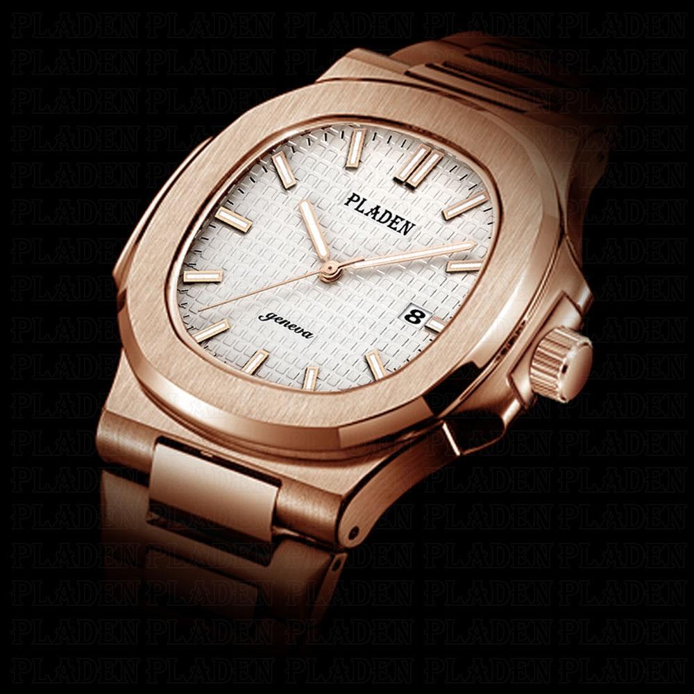 Роскошные мужские часы PLADEN, 2019 316l, нержавеющая сталь, Роскошные мужские часы, золотые светящиеся, для плавания, прочные мужские часы Erkek Kol