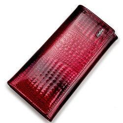 جلد طبيعي فاخر المرأة محفظة محافظ التمساح الحقيقي حقيبة الإناث تصميم مخلب طويل متعدد الوظائف عملة حامل بطاقة المحافظ