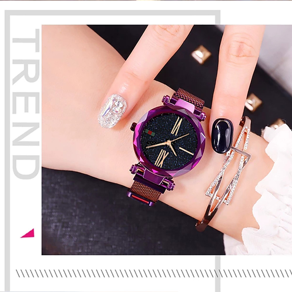 Luxury Minimalism Starry sky Magnet Rose Gold Women Watches 12