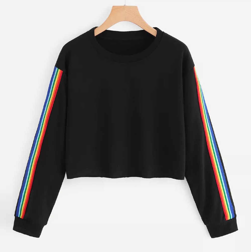 스웨터 여성 패션 레인보우 패치 워크 긴 소매 오 넥 캐주얼 풀오버 탑스 하라주쿠 블랙 쇼트 탑스 가을 고딕 # Y3