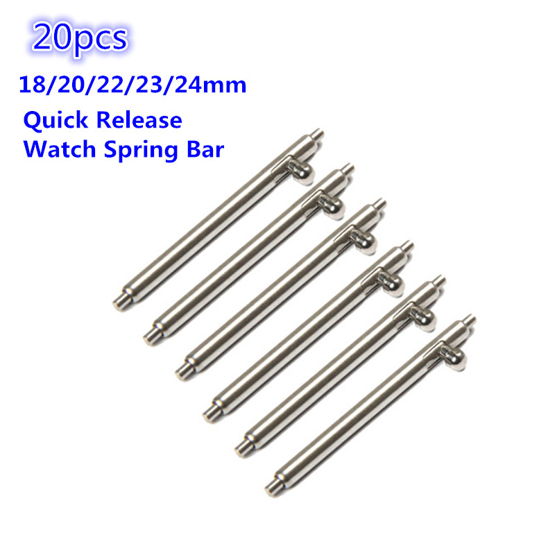20pcs 1.5mm Diameter Watch Pin Repair Tools And Kits Quick Release Watch Strap Spring Bars Pins 18MM 20MM 22MM 23MM 24MM