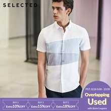 SELECTED Splicing business leisure short-sleeved shirtS|418204507(China)