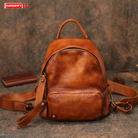 New Vintage Leather Small Backpack Women Bag Female Casual School Backpacks Bags 2020 Literary Original Soft Genuine Leather
