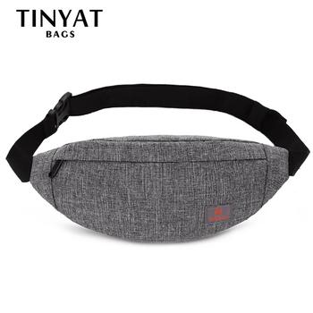 TINYAT Women Waist Bag Female Belt Bag Pack Girl Canvas Casual Fanny Pack Phone Mobile Money Fanny Bag Belt Bags Grey