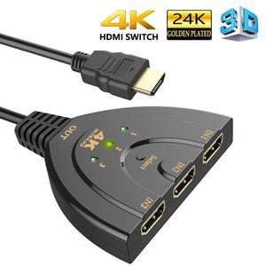 Image 1 - Hdmiスプリッタ3ポートhdmiスイッチ1.4b 4 22kスイッチャーフルhd 3で1アウトポートハブ4 18k * 2 18k 3Dとピッグテールケーブルdvd hdtv xbox PS3