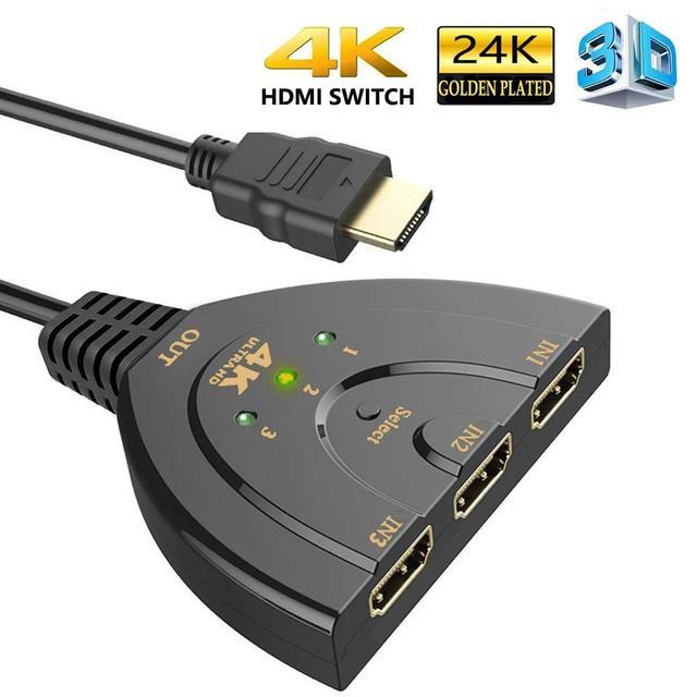 Hdmiスプリッタ3ポートhdmiスイッチ1.4b 4 22kスイッチャーフルhd 3で1アウトポートハブ4 18k * 2 18k 3Dとピッグテールケーブルdvd hdtv xbox PS3