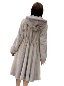 Coat Real-Mink-Fur-Jacket Hooded Long-Grey Winter Women New Fashion Full Customized Elegant