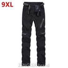 ฤดูใบไม้ผลิฤดูหนาว plus ขนาดลำลองกางเกงหนากางเกงกันน้ำ sandtroopers ขนาดใหญ่ soft shell กางเกงชาย 9XL 8XL 7XL